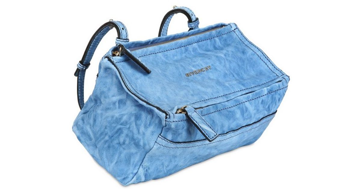 1a0a35881f73d Givenchy Mini Pandora Washed Leather Shoulder Bag in Blue - Lyst