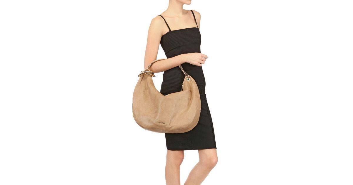 2972e13c0d Lyst - Jimmy Choo Large Solar Soft Leather Shoulder Bag in Natural