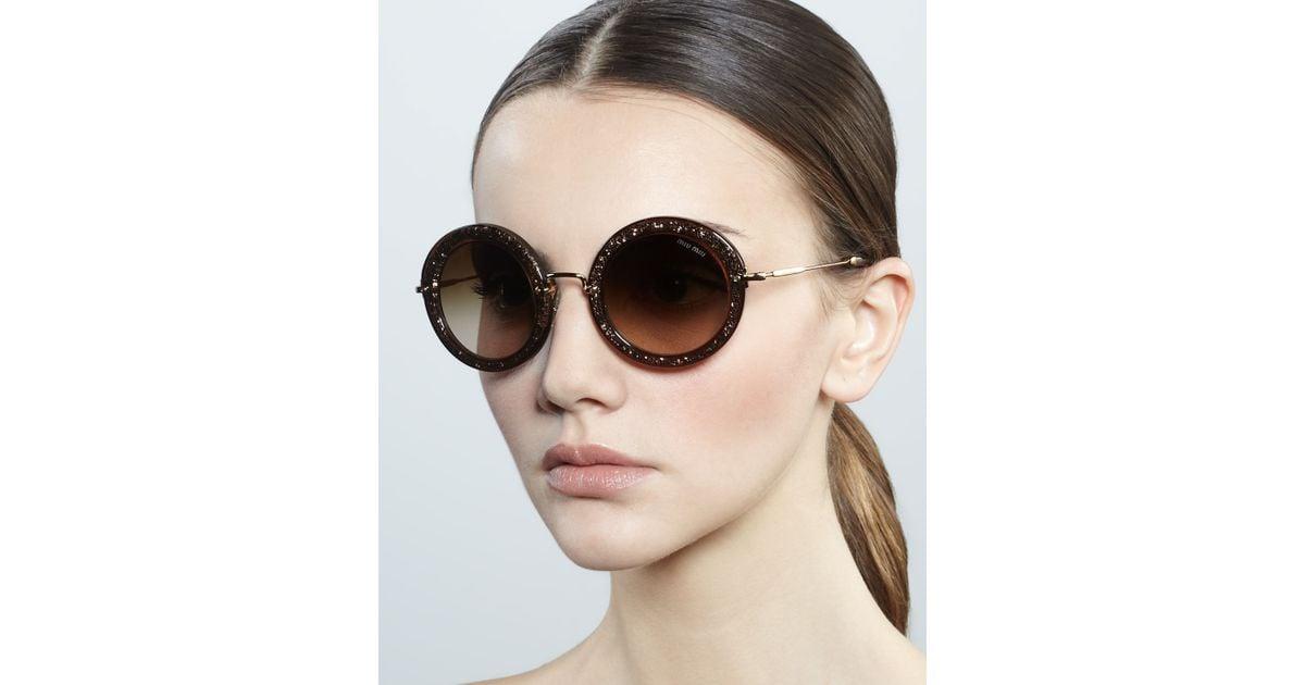 Sunglasses Circle Lyst Miu Brown Oversize In p11qxwzn7W
