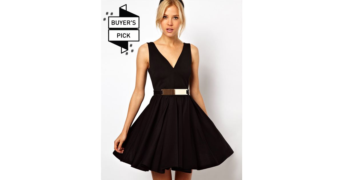 45bac20c31 Lyst - ASOS Asos Structured Skater Dress with Gold Belt in Black