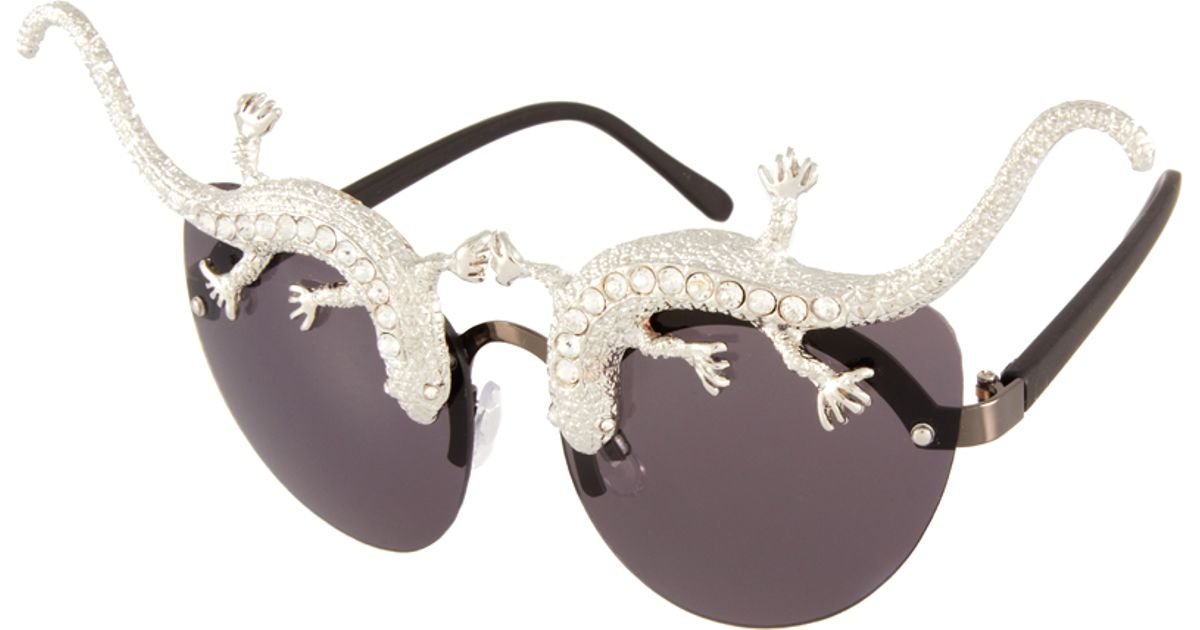 4116852cbda Lyst - ASOS Premium Lizard Cat Eye Sunglasses in Metallic