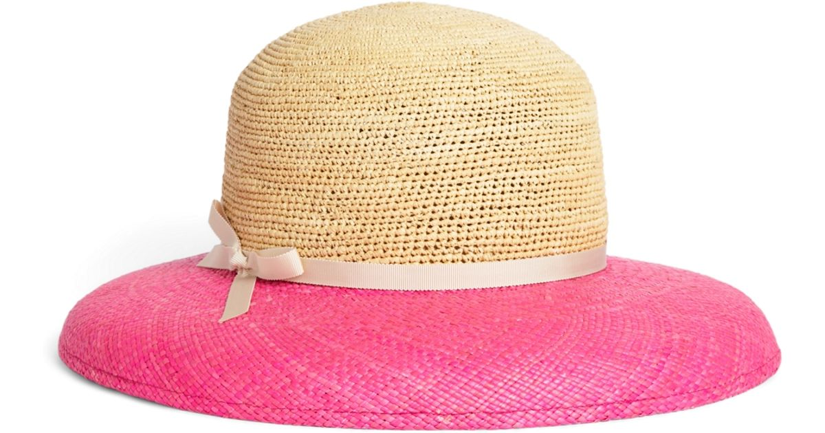 7940187d6b0 Lyst - Brooks Brothers Crochet Panama Straw Hat in Pink