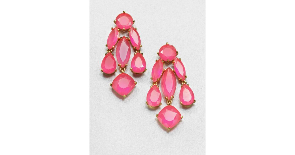 Lyst kate spade new york faceted statement chandelier earrings in pink aloadofball Choice Image