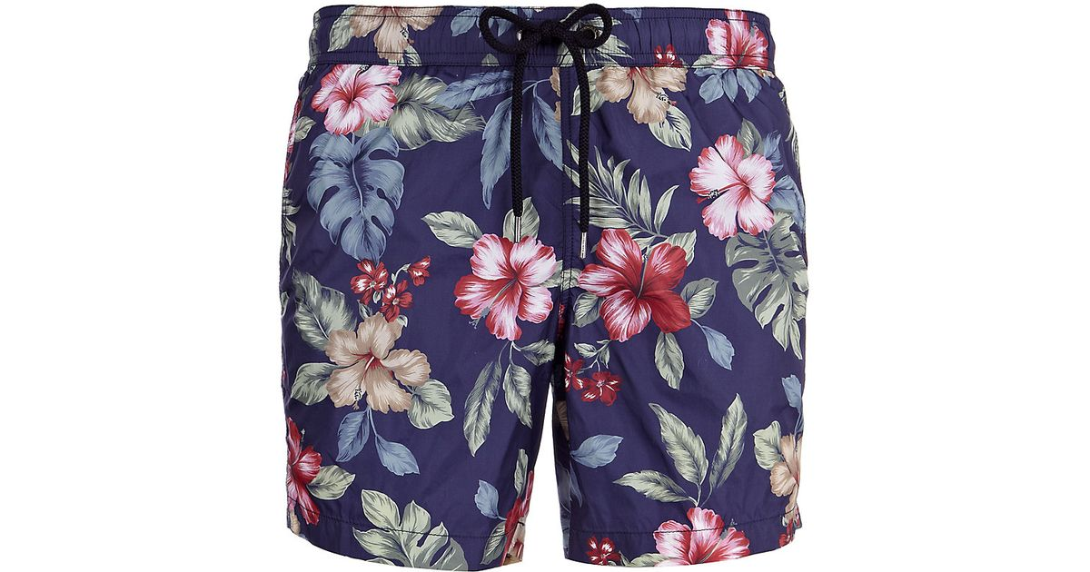 4f419b65bc Moncler Floral Swim Shorts for Men - Lyst