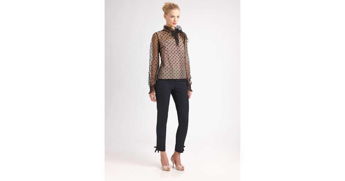 2440ec0408d8dd RED Valentino Tulle Polkadot Blouse in Black - Lyst