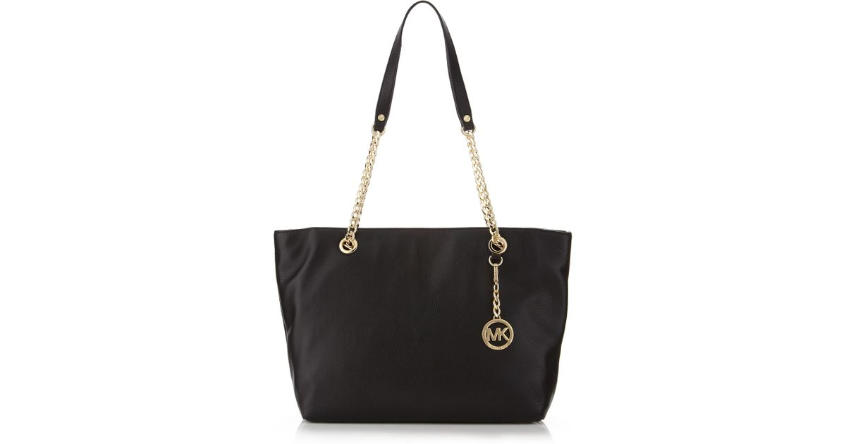 e8b22884abf4 ... cheap lyst michael michael kors large jet set chain tote in black ad562  f51ac