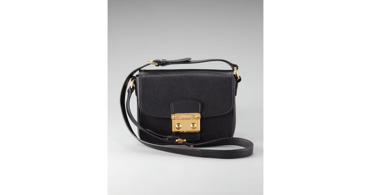 Lyst - Miu Miu Pushlock Crossbody Bag in Black bfb277027f