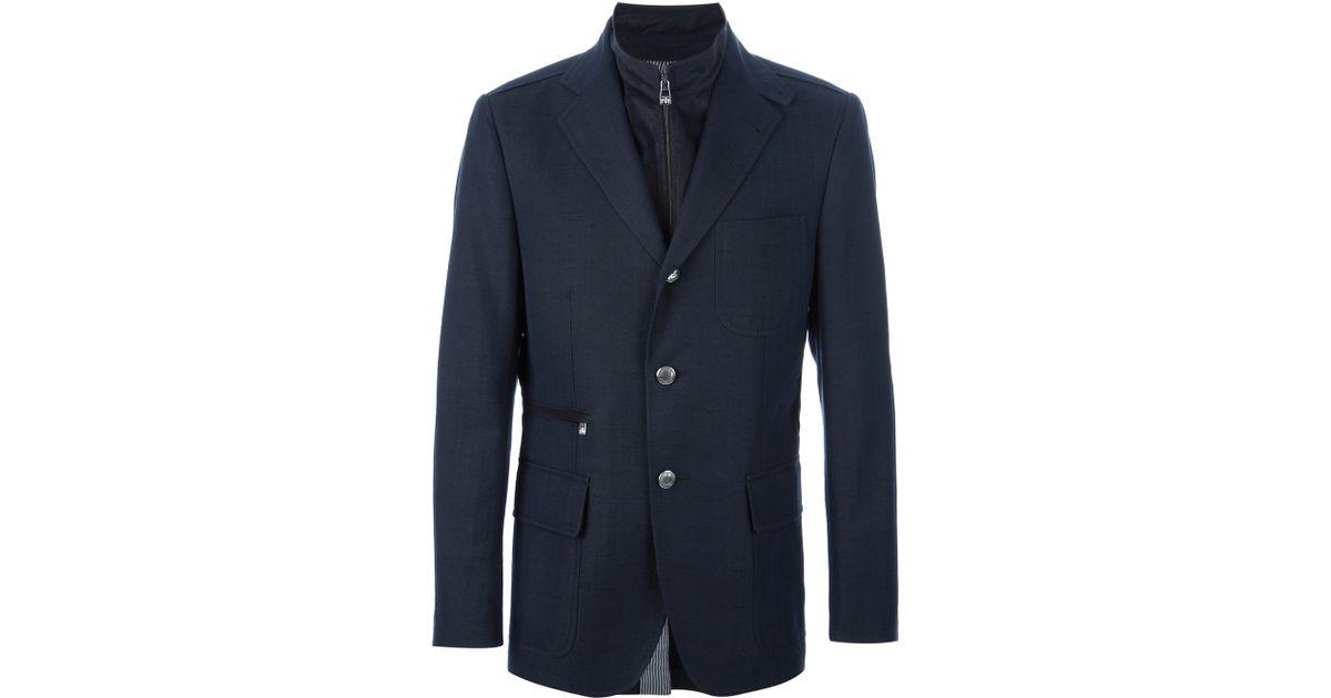 Corneliani Identity Double Layer Jacket In Blue For Men Lyst