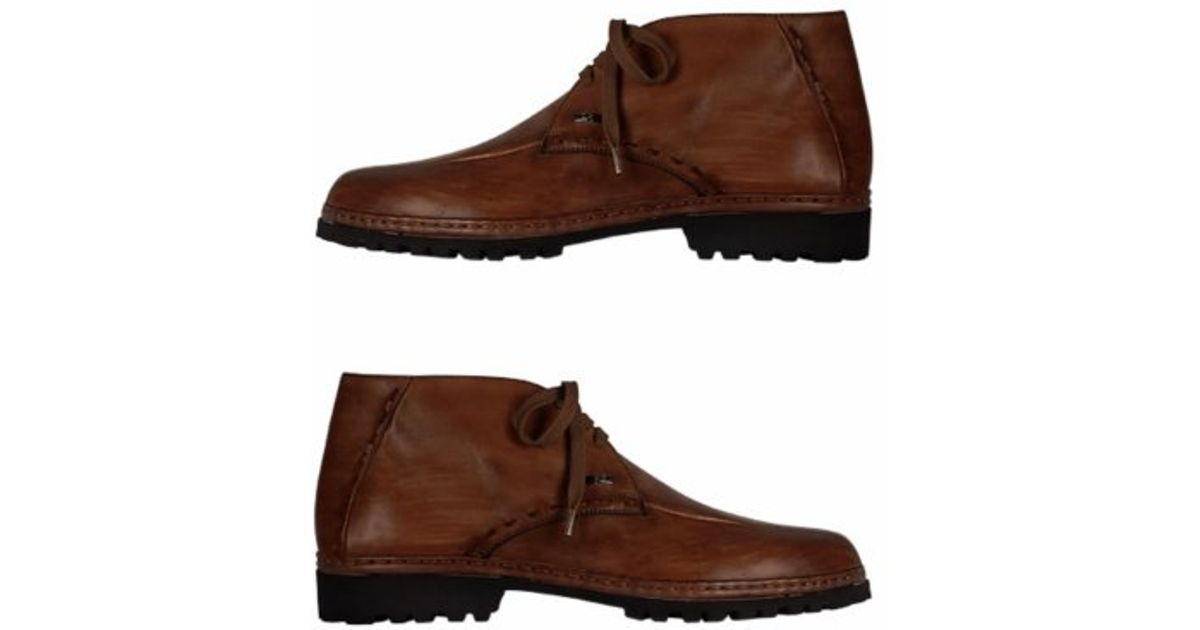 pakerson brown handmade italian leather ankle boots in