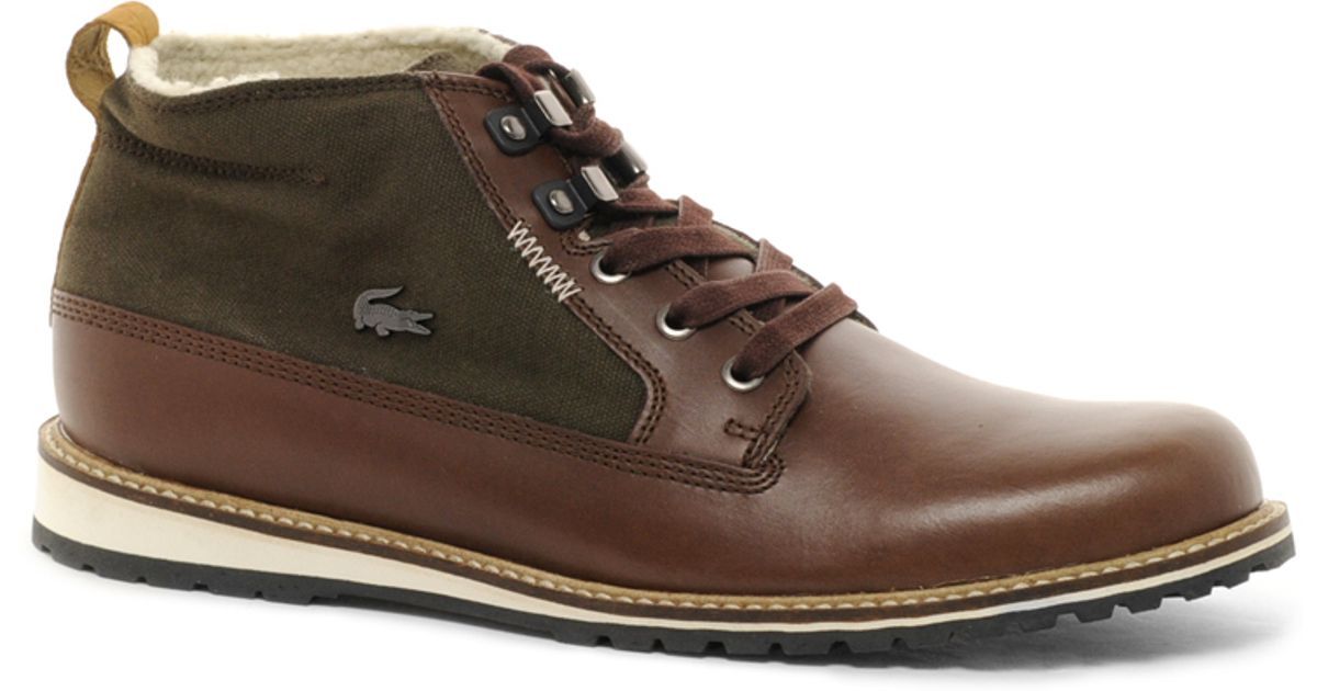 lyst lacoste delevan 7 shearling boots in brown for men