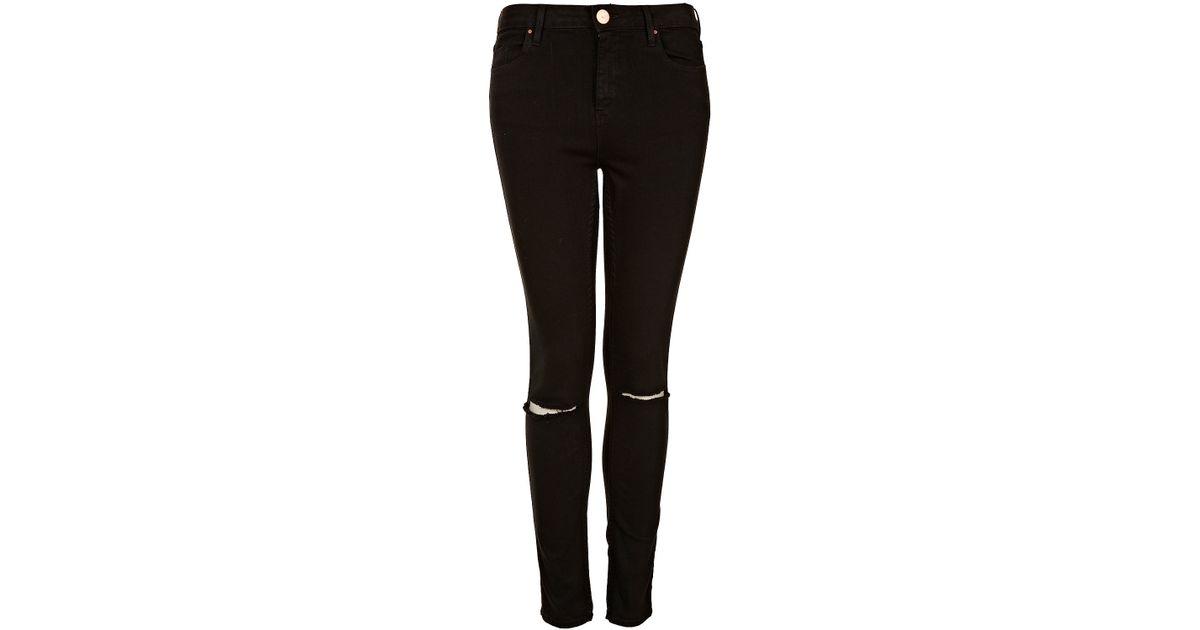 8c10b9b26f TOPSHOP Black Rip Knee Jamie Jeans in Black - Lyst