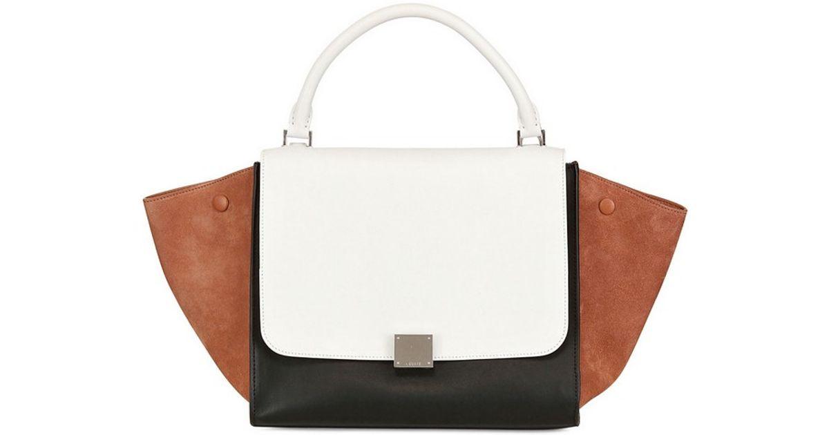 945c32a6a9f4 Lyst - Céline Multicolor Leather Medium Trapeze Bag in White