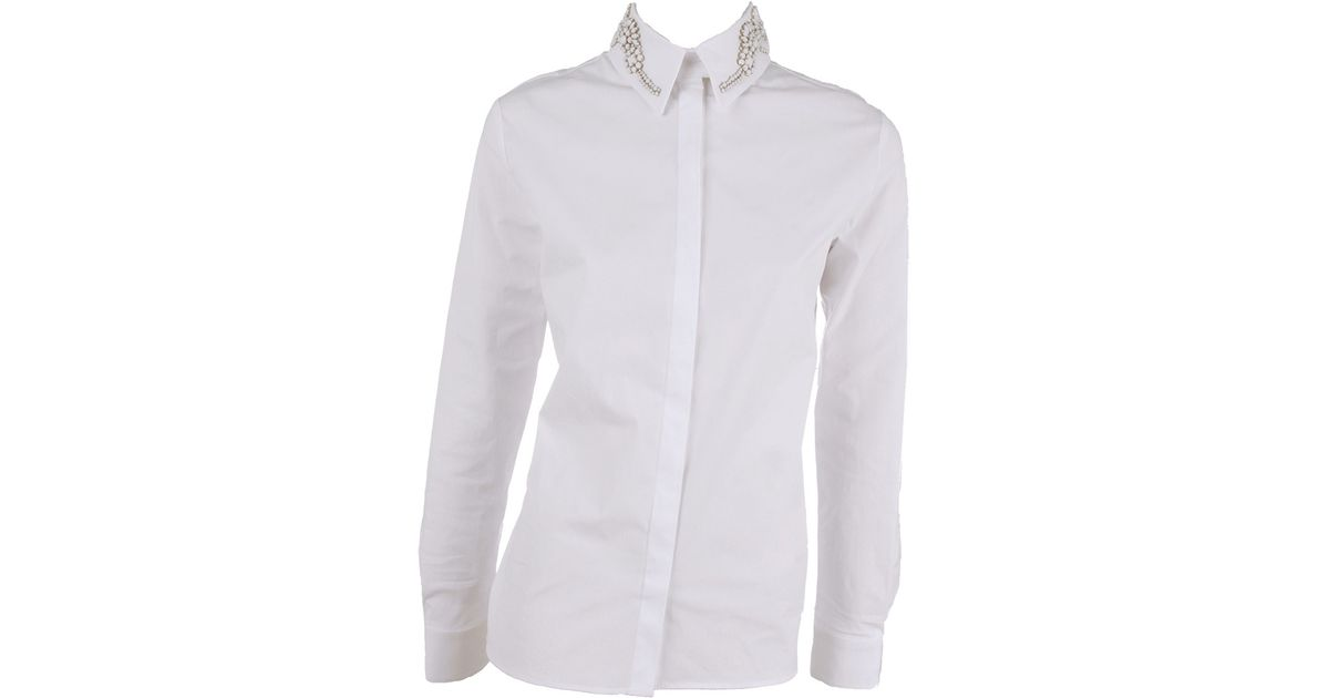 Lyst Givenchy Long Sleeve Jeweled Collar Blouse In White