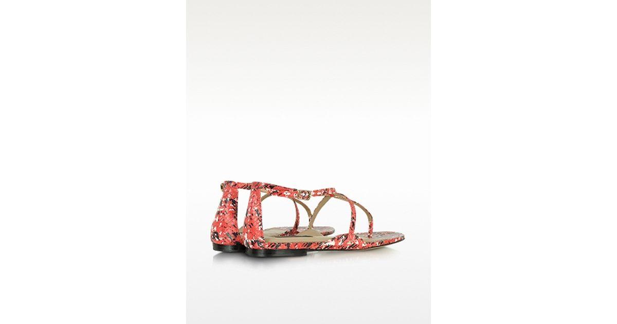 9b45f951b Lyst - Rachel Zoe Gwen Snakeskin Flat Sandal in Pink