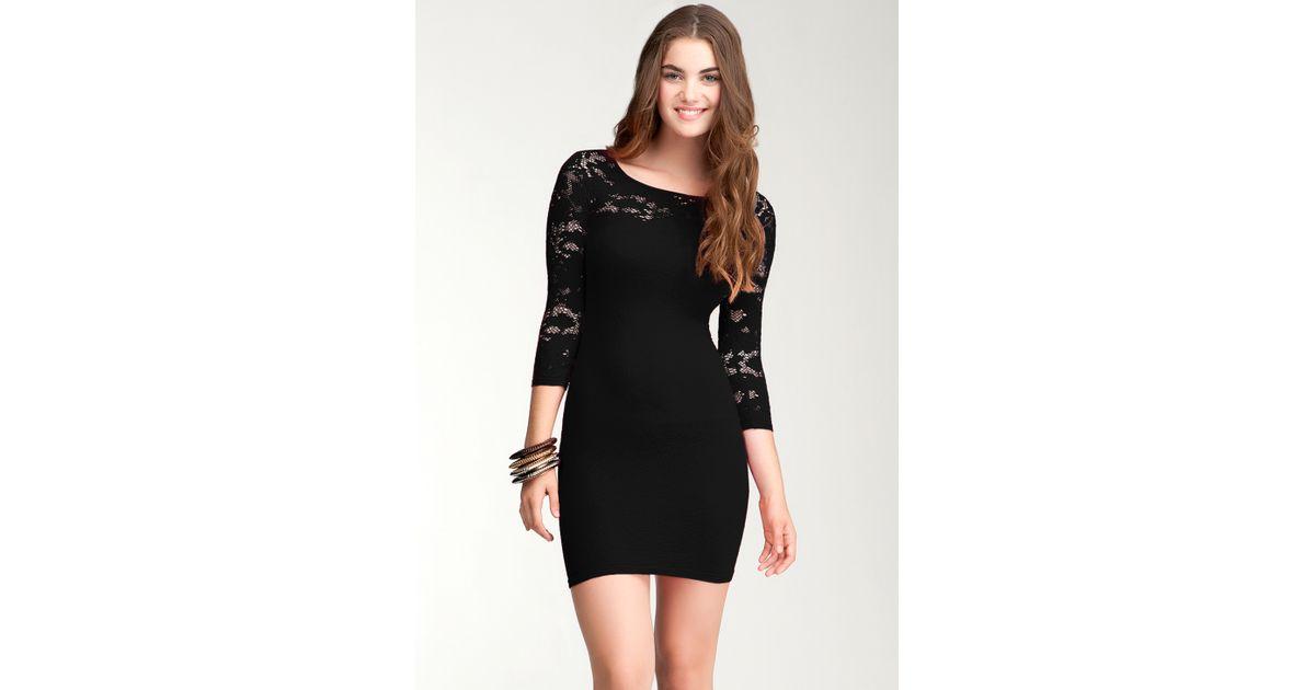 Bebe Flower Lace Dress in Black - Lyst fa744aa03