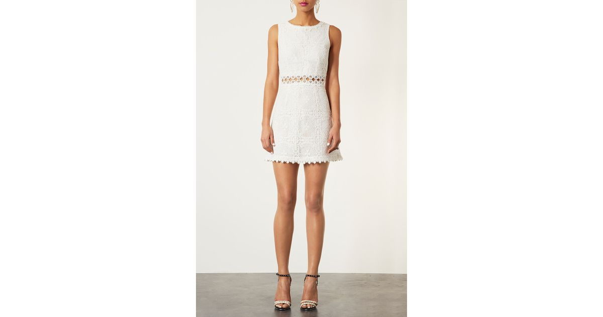50e529202607 TOPSHOP 60s Lace Panel Shift Dress in White - Lyst