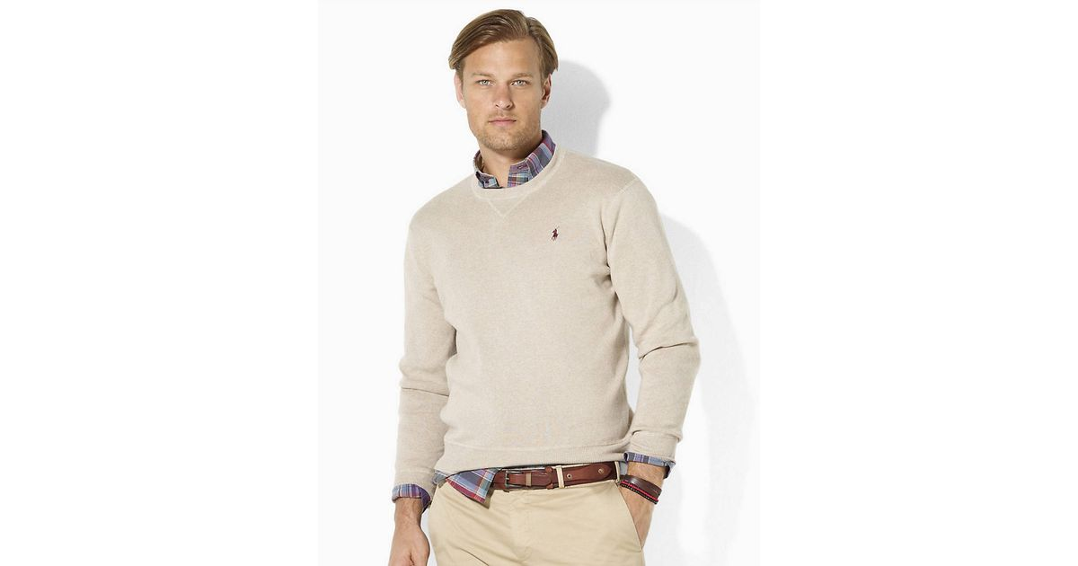 Polo ralph lauren Long Sleeved Combed Cotton Crewneck Sweater in ...