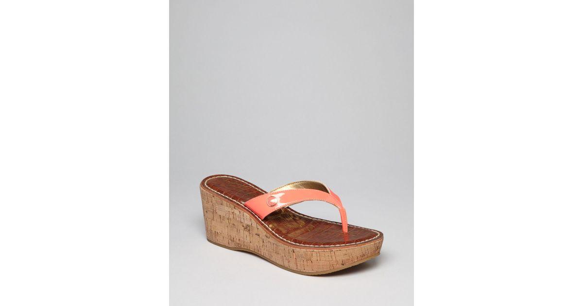f62c72a60 Lyst - Sam Edelman Platform Wedge Thong Sandals Romy in Pink
