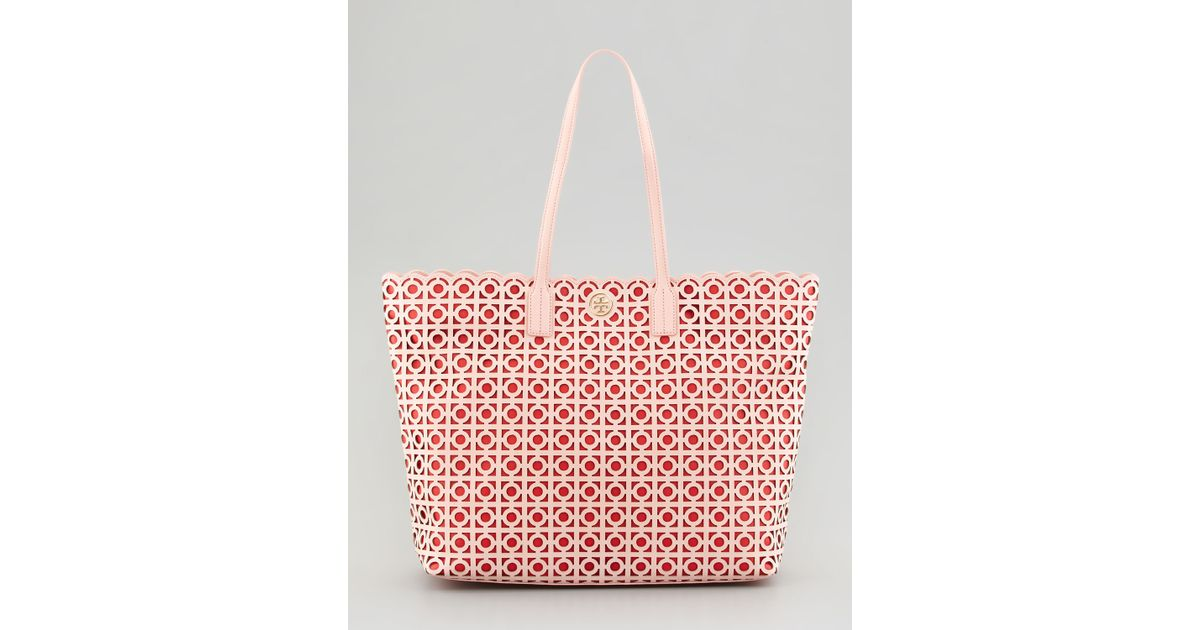94e59331252d Lyst - Tory Burch Kelsey Lasercut Eastwest Tote Bag in Pink