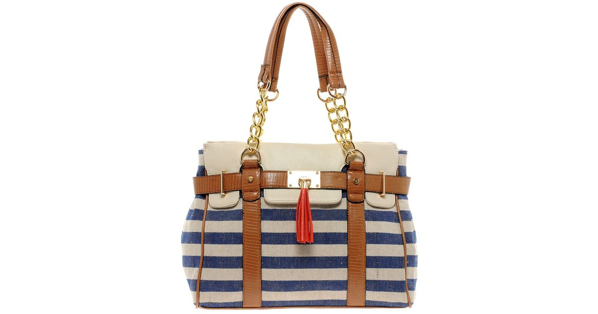 b40cf57b9d Lyst - ALDO Macedon Striped Shoulder Bag in Blue