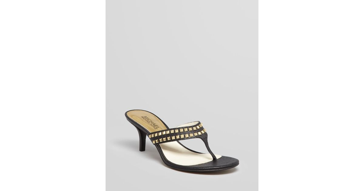5b610bb2c7d164 Lyst - MICHAEL Michael Kors Studded Thong Sandals Alexi Low Heel Slide in  Black
