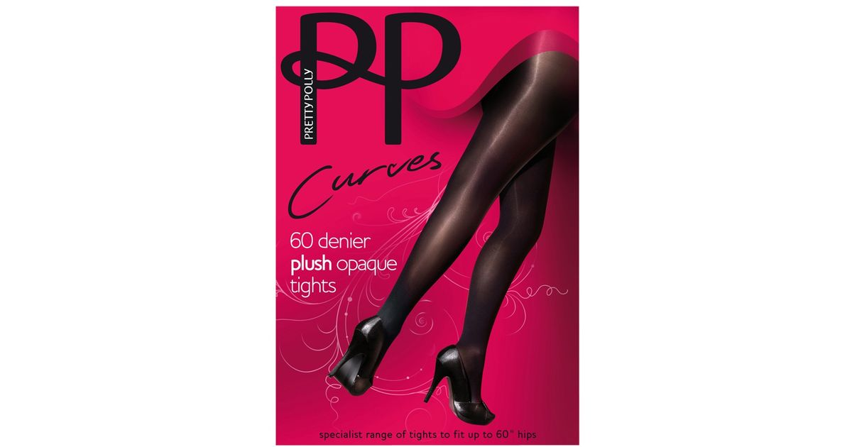 0a157212599 Pretty Polly Curves 60 Denier Plush Opaque Tights in Black - Lyst