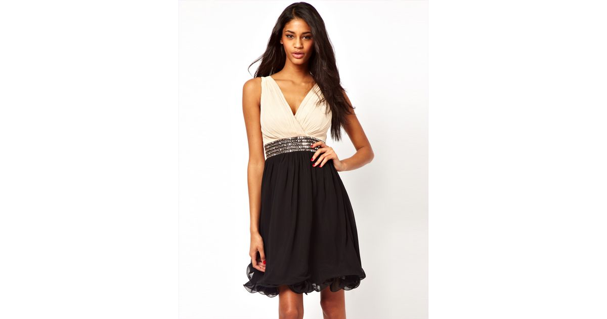 Lyst - Little Mistress Wrap Front Embellished Waist Prom Dress in Black