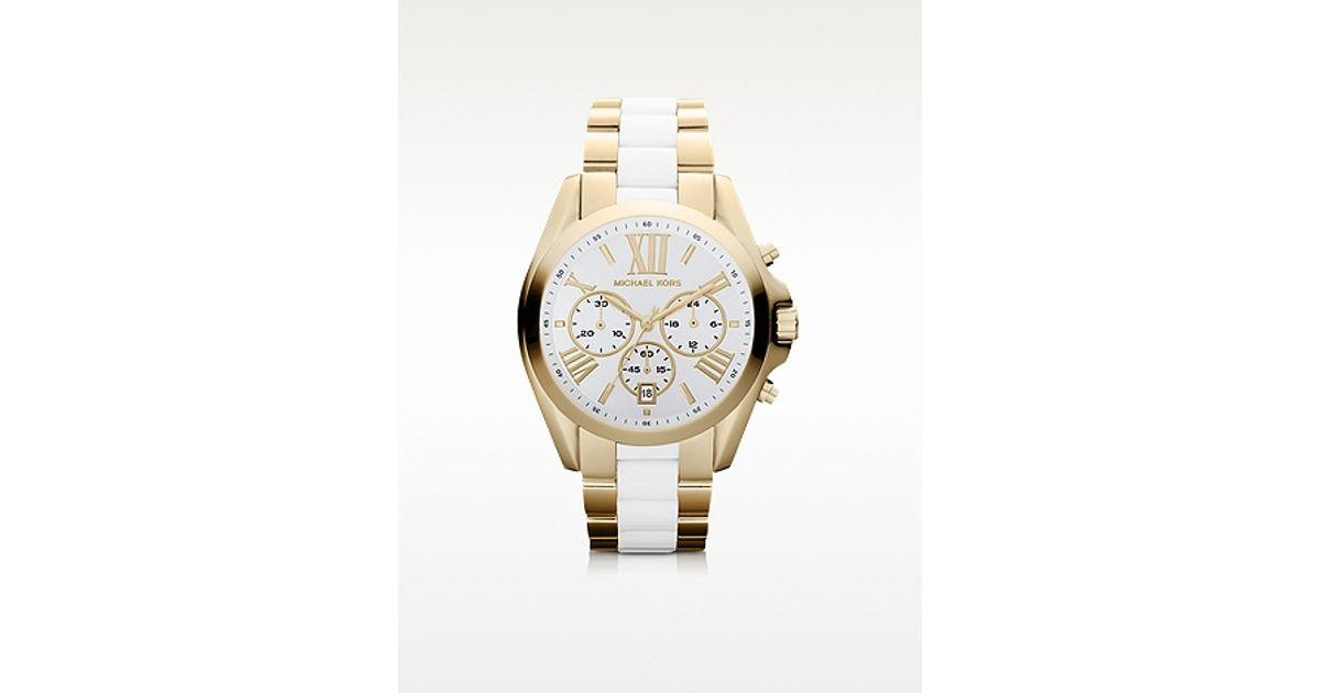 6f204bb035ad Michael Kors Bradshaw Gold Tone White Chronograph Watch in Metallic - Lyst