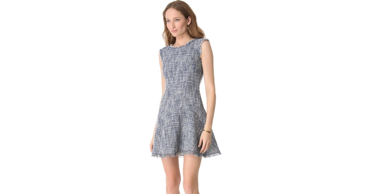 be4583997fed Rebecca Taylor Frayed Flare Tweed Dress in Blue - Lyst