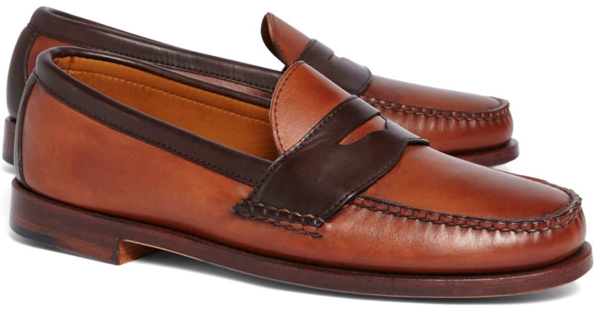 6dc3329da00 Lyst - Brooks Brothers Rancourt   Co. Two-tone Penny Loafers in Brown for  Men