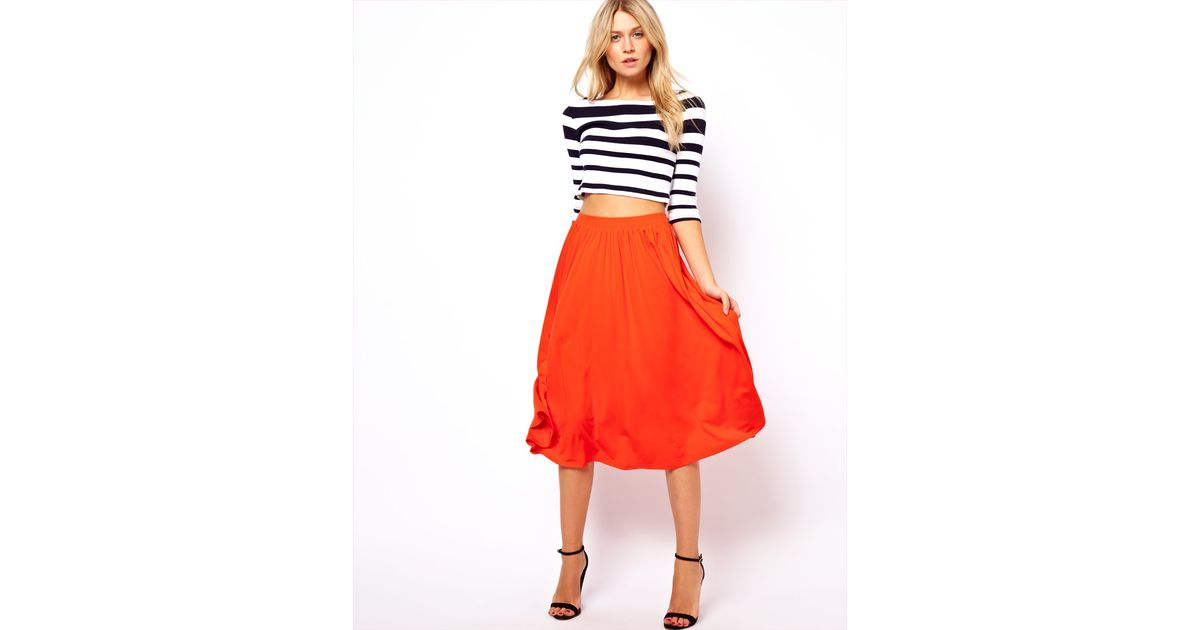 Asos Asos Full Midi Skirt in Orange | Lyst
