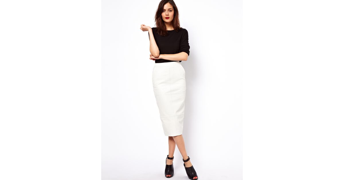 asos collection pencil skirt in leather in white lyst