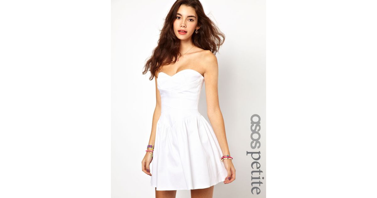 3cf97c028ca9 Lyst - ASOS Exclusive Strapless Skater Dress With Waist Detail in White