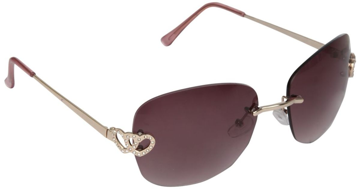 9bd409d33ea Jane Norman Rimless Diamante Heart Sunglasses in Black - Lyst