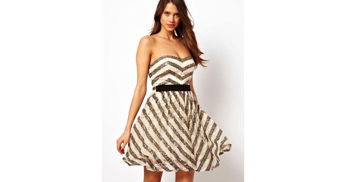 Lyst - Calvin Klein Little Mistress Sequin Lace Stripe Prom Dress in ...