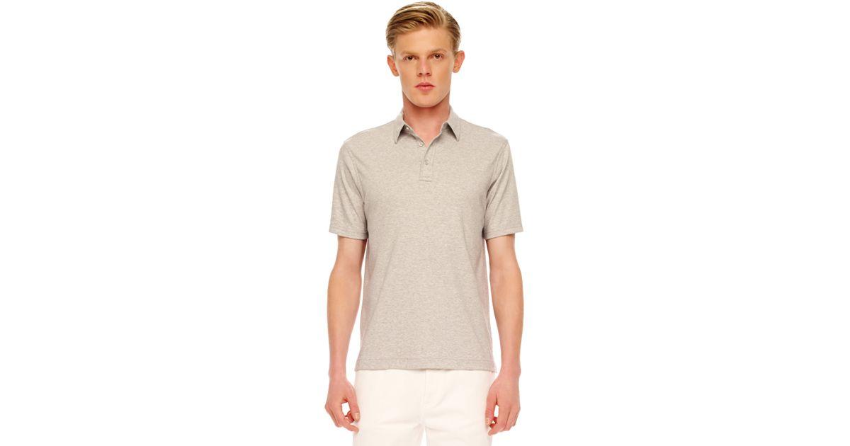 32fca0dd Lyst - Michael Kors Melange Polo Shirt in Gray for Men