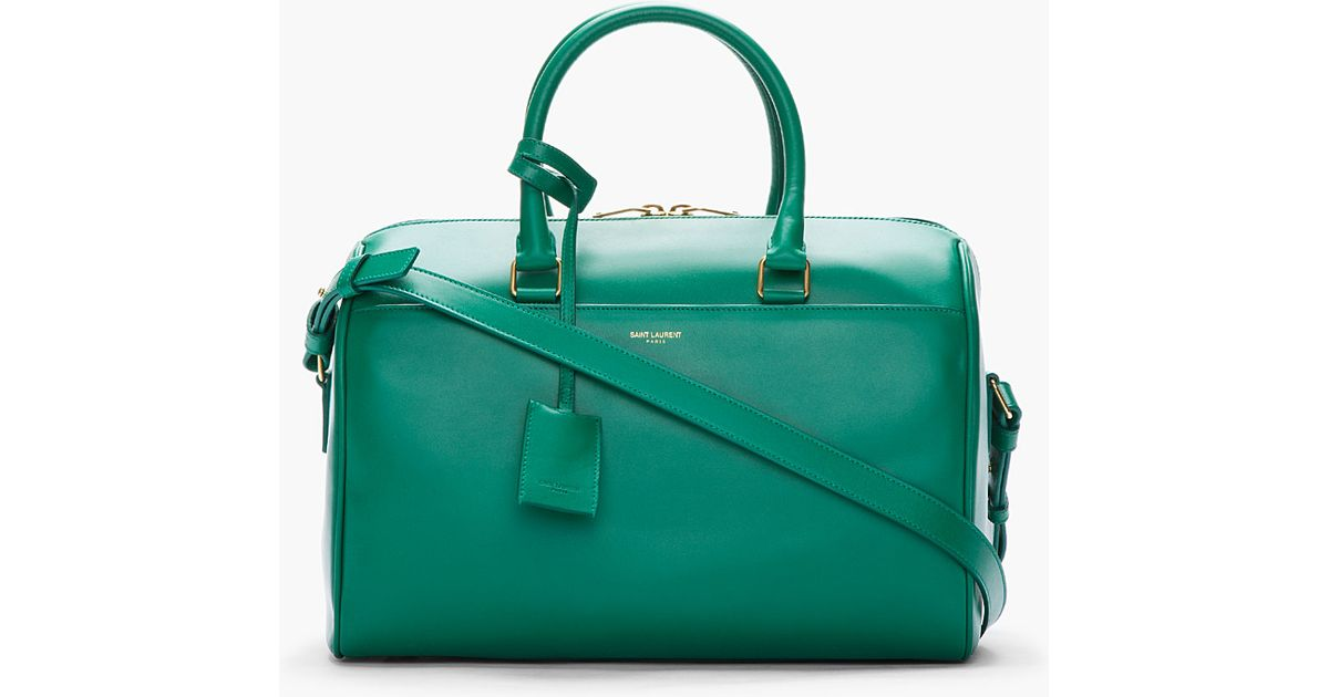 Saint laurent Emerald Green Leather Bo Duffle Bag in Green | Lyst