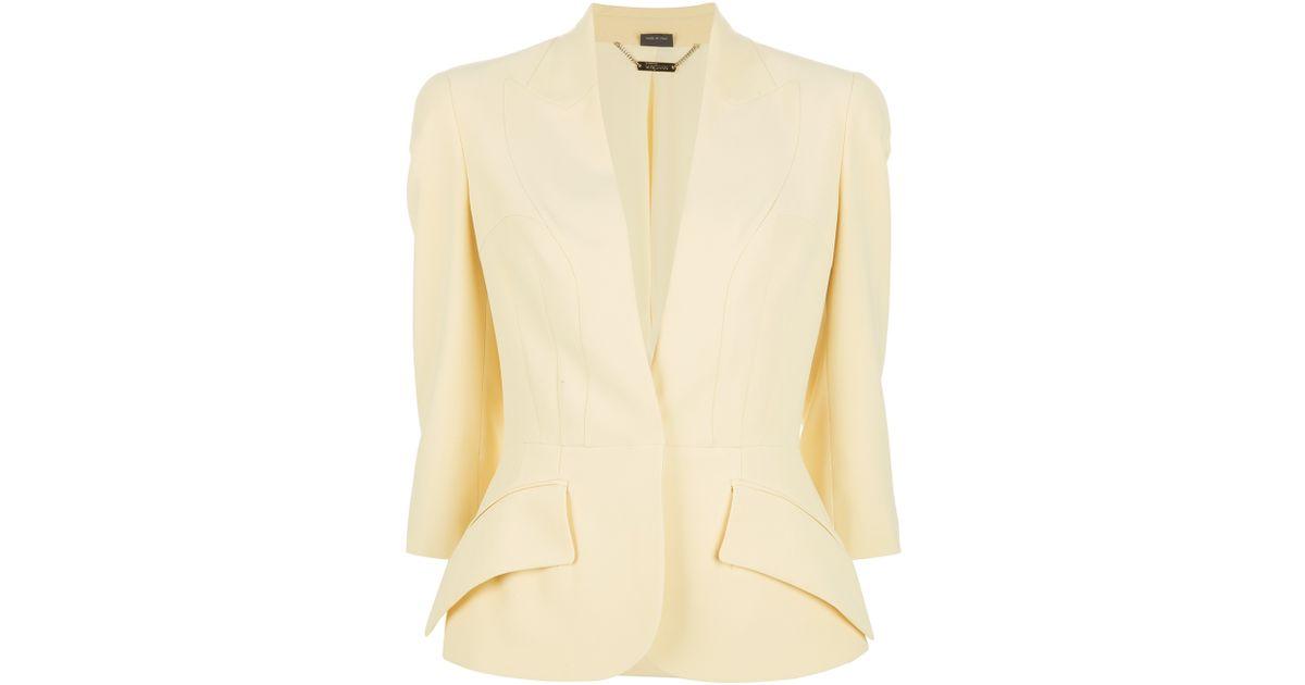 adabad5f3 Lyst - Alexander McQueen Leaf Crepe Basque Jacket in Yellow