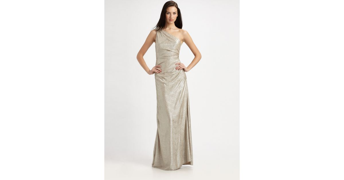 Lyst - David Meister Matelasse One-Shoulder Gown in Gray