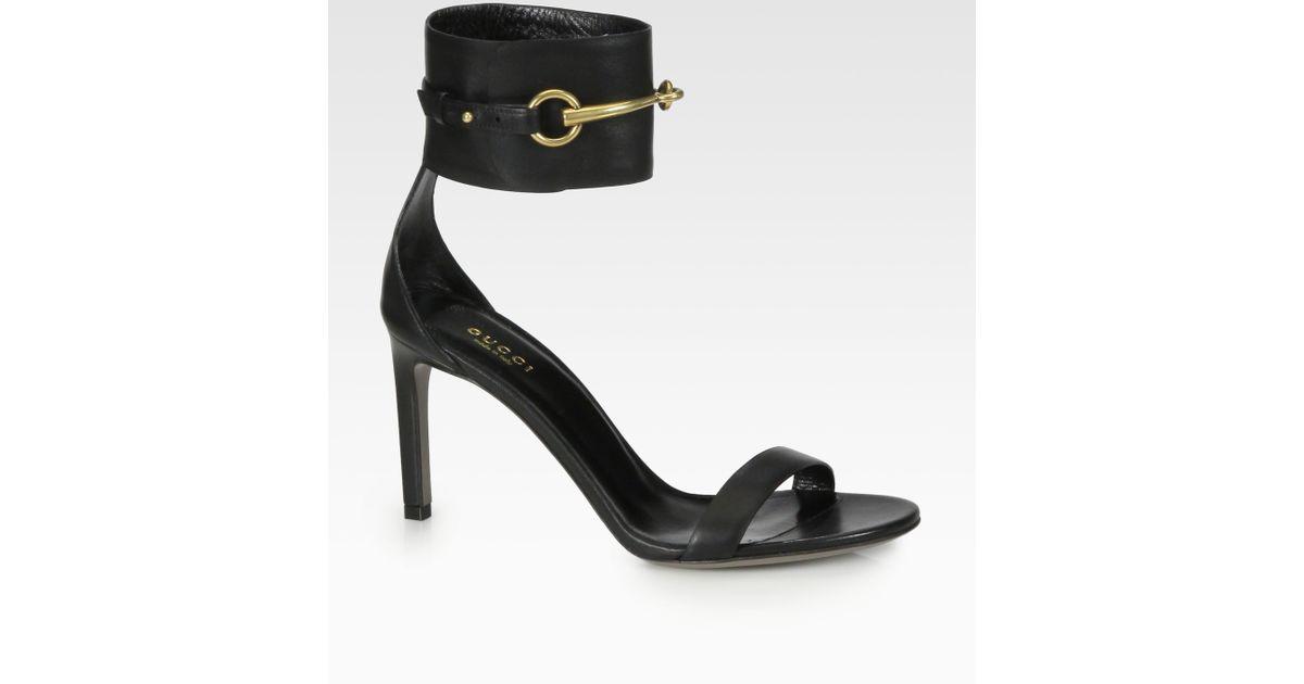 613594b034b Gucci Ursula Leather Horsebit Sandals in Black - Lyst
