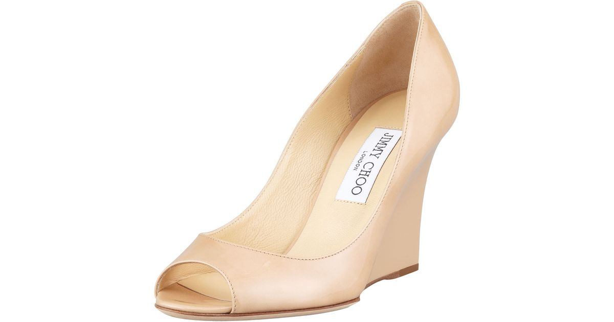 a51376b16d55a Lyst - Jimmy Choo Baxen Patent Peeptoe Wedge Pump Nude in Natural