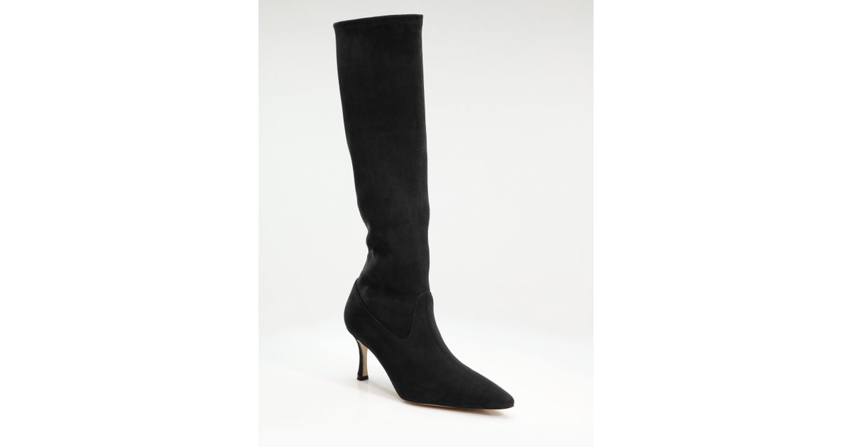 f63c202677582 + Manolo Blahnik satin boots Manolo Blahnik Pascalare Suede Kneehigh Boots  in Black - Lys ...