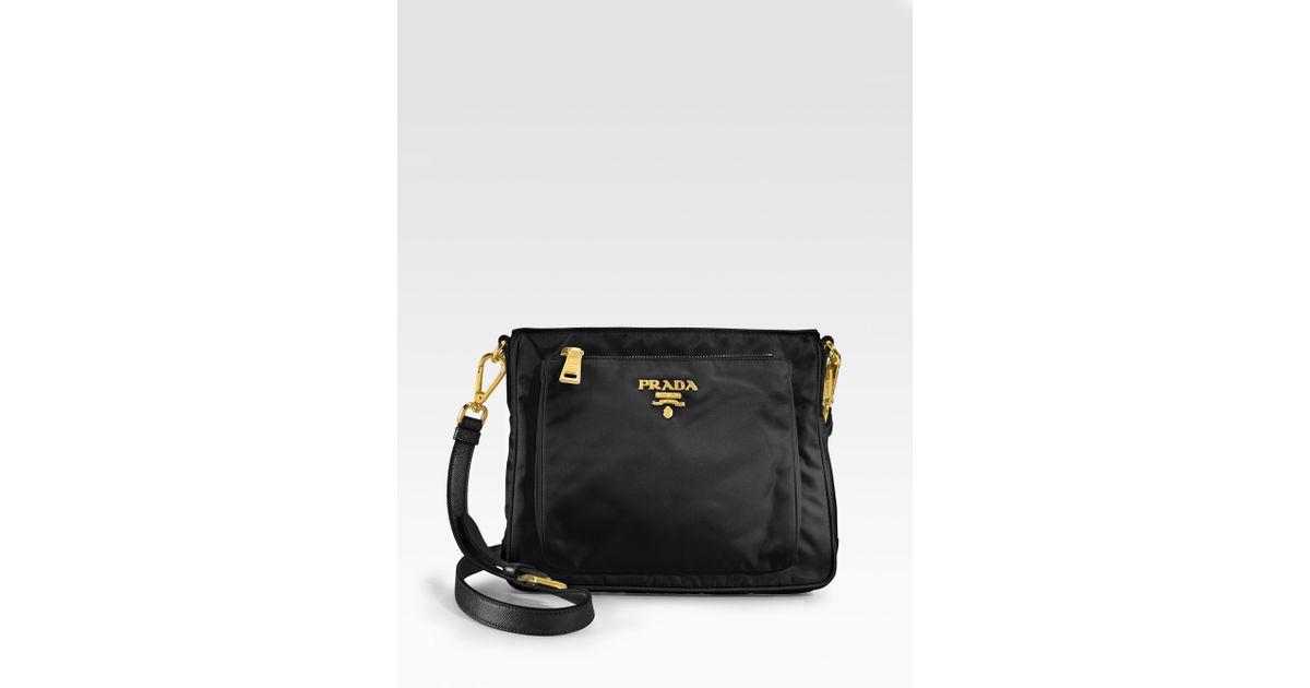 6c4b05e26abd36 Prada Nylon Saffiano Leather Mini Messenger Bag in Black - Lyst
