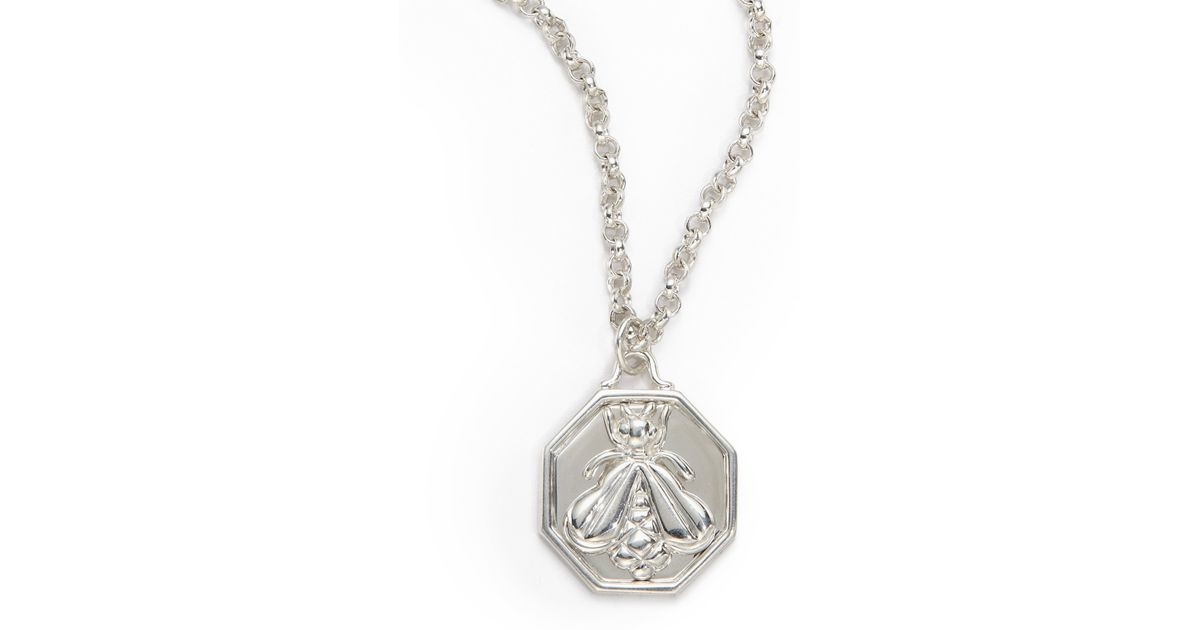 Lyst slane octagon bee pendant necklace in metallic aloadofball Gallery