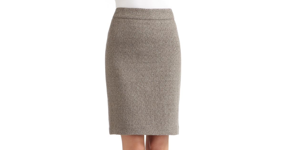 50575be9ff Armani Wool Pencil Skirt in Gray - Lyst
