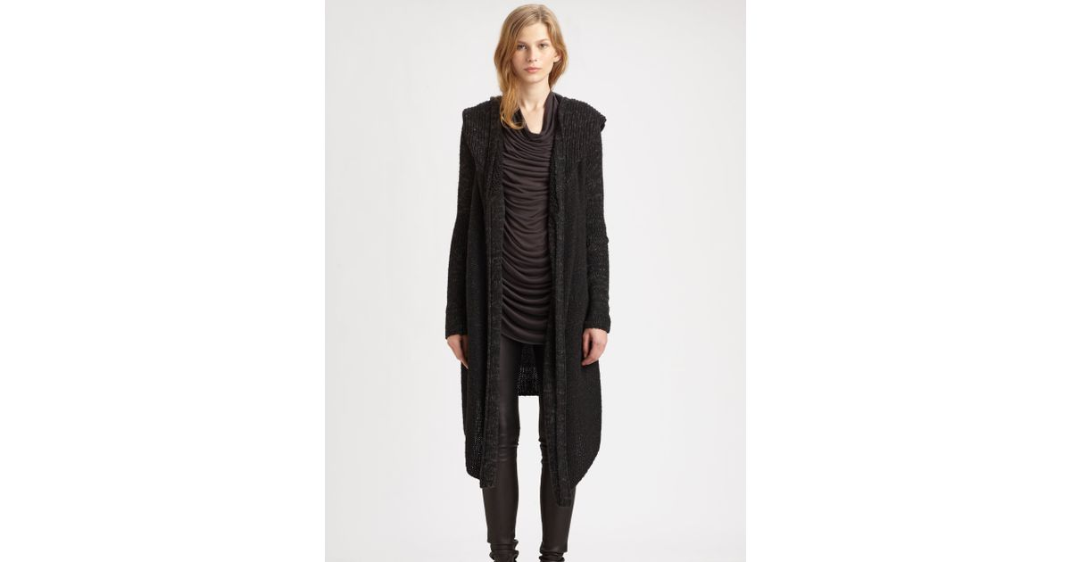 Helmut lang Inherent Hooded Cardigan in Gray | Lyst