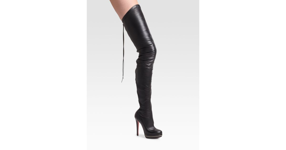 christian louboutin unique thigh high black zip boots