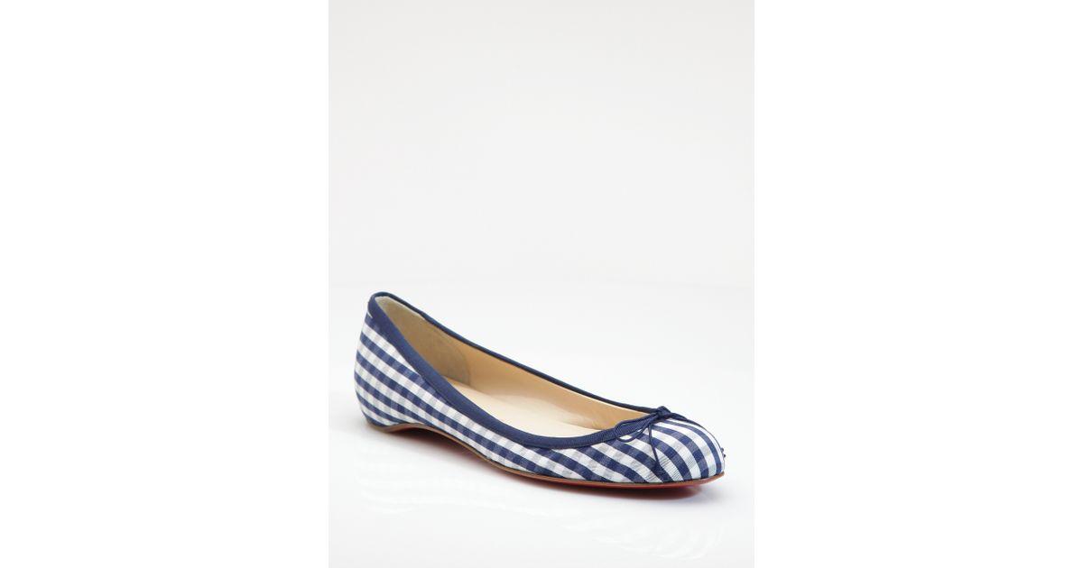 Christian louboutin Sonietta Cotton Gingham Ballet Flats in Blue ...