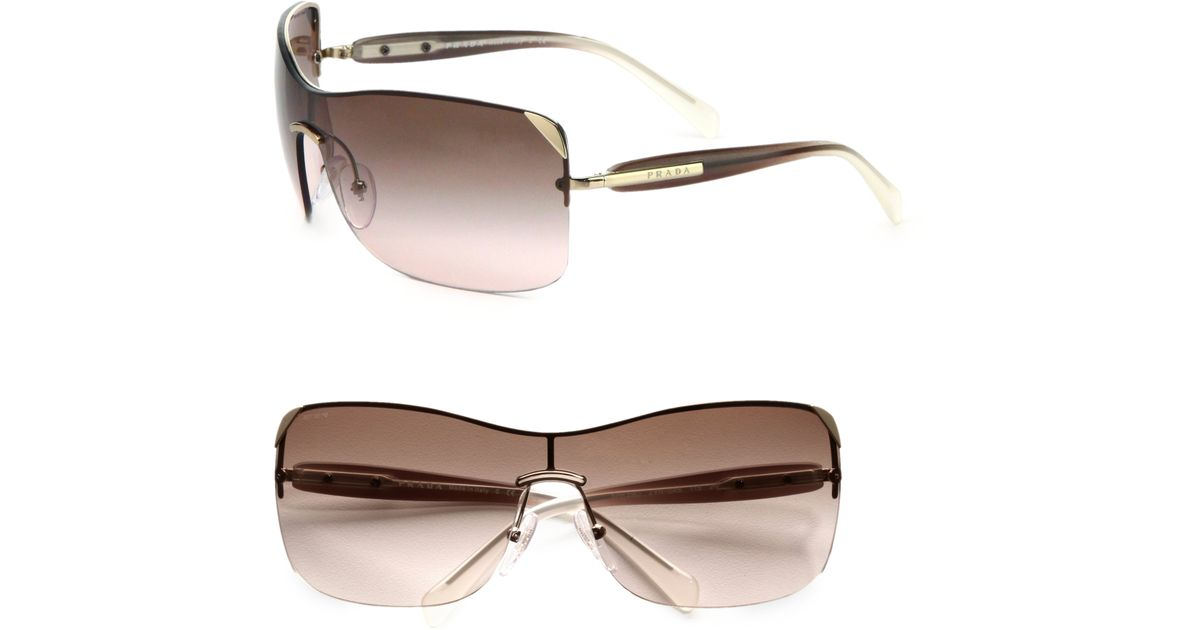 4ed7a81b2869 Lyst - Prada Rectangular Rimless Shield Sunglasses in Brown for Men