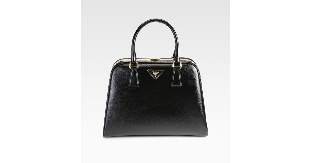 c4e4c2a57719 Prada Saffiano Vernice Frame Pyramid Tophandle Bag in Black - Lyst